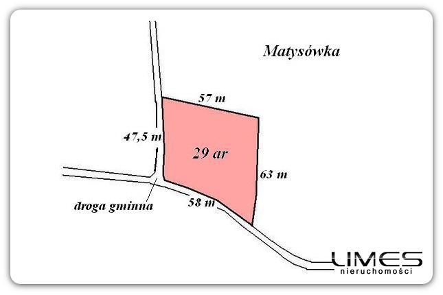 Matysówka – 29 ar – budowlana z WZ
