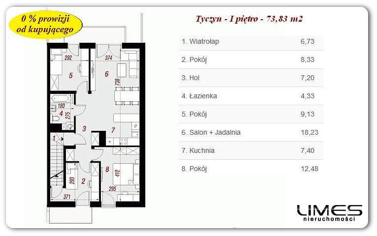 73,83 m2 – Tyczyn – 4 pokoje – stan deweloperski